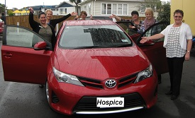 The Hospice Taranaki team were thrilled to get up close to this set of fancy wheels.