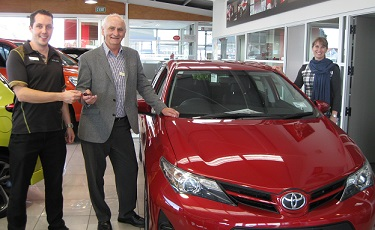 An exciting day as the team of Tasman Toyota handed the keys for this shiny Toyota Corolla to Kevin Nielsen, CEO Hospice Taranaki.